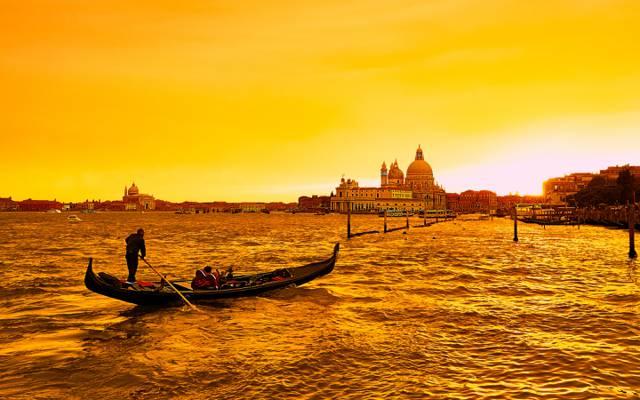 海,缆车,船,通道,意大利,发光,威尼斯