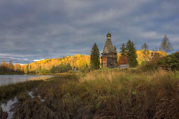 村,晚上,列宁格勒州,教堂,盐度,秋天