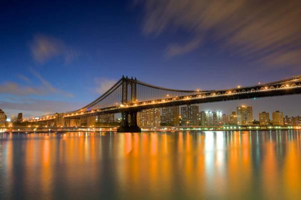 纽约,摩天大楼,桥梁,纽约市,纽约市,家庭,纽约,城市,灯光,...