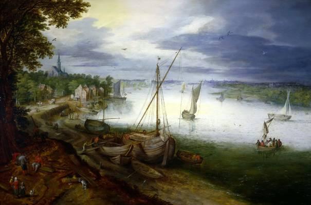 图片,船,扬布鲁盖尔年轻,河,景观,在斯海尔德河附近安特卫普观