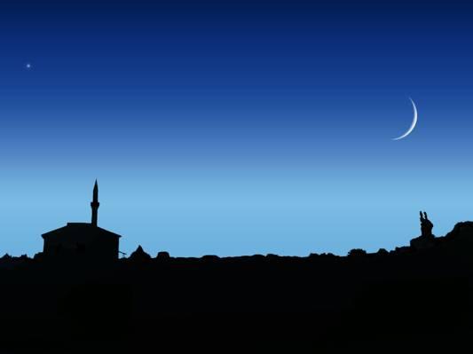 月亮,星星,夜晚,天空,清真寺