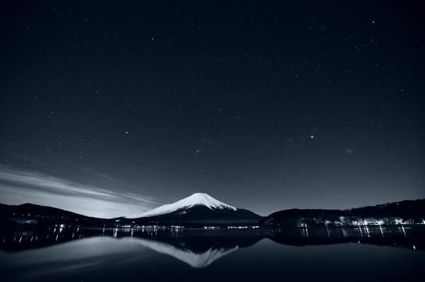 黑色和白色,湖,反射,山,性质,照片,景观