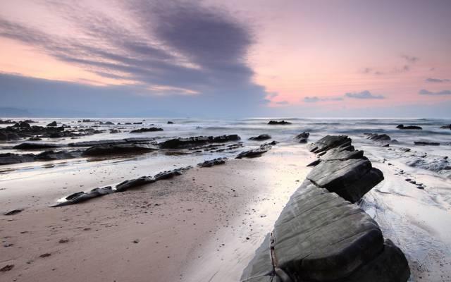 海,云,天空,沙滩,石头