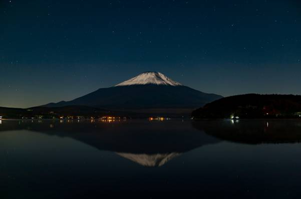 火山,天空,倒影,星星,山