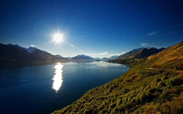 新西兰,湖,新西兰,山,自然,瓦卡蒂普湖