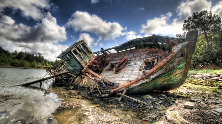 老,破坏,船,河