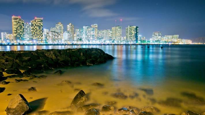 Wallpaper檀香山,檀香山,夏威夷,夏威夷,夜晚的城市,石头,湾