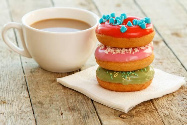咖啡,釉,咖啡,甜甜圈,甜甜圈,杯