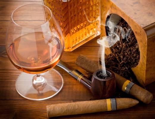 表,烟草,管,玻璃,科涅克白兰地,雪茄