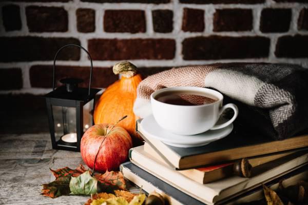 苹果,南瓜,书籍,茶,饮料,秋天,叶子