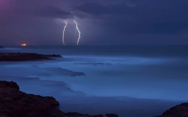 拉链,岸,蓝色,海,风暴,水,元素,石头