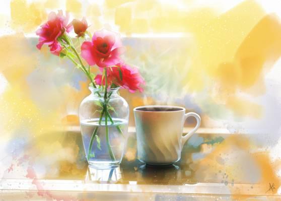 花瓶,鲜花,杯,绘画,咖啡,玫瑰