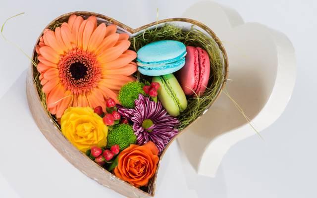糖果,蛋白杏仁饼干,花,框,甜点,礼物,框,心,鲜花