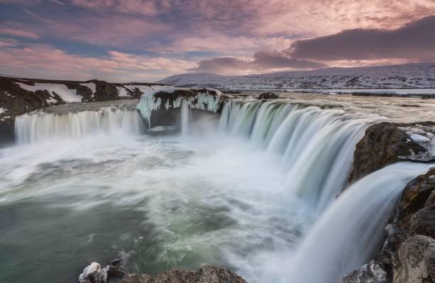 水落,冰岛高清壁纸