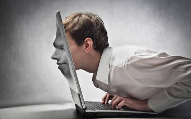 笔记本电脑,创意,脸,男性