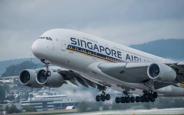 宽体,双层,乘客,四引擎,新加坡航空,A380,喷气机,飞机