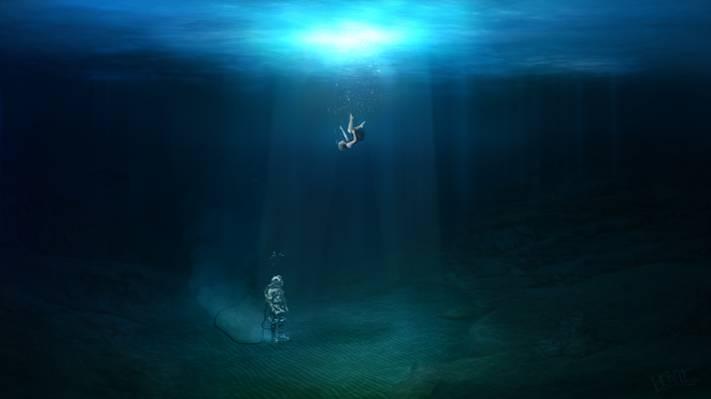 空气,女孩,水,女孩,潜水员,photoshop,光,感受,底部,潜水,波浪,下降,水,海洋,...