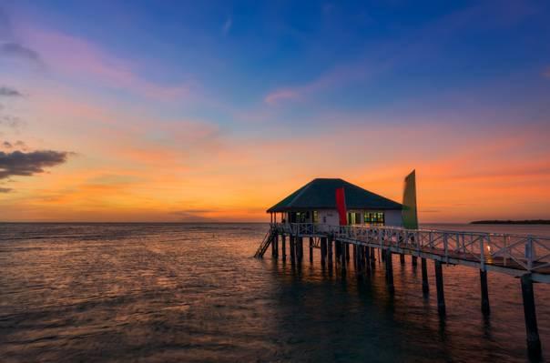 海,晚上,别墅,日落