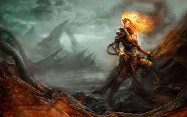 火焰,女巫,女孩,钱德拉,盔甲,魔术:聚会