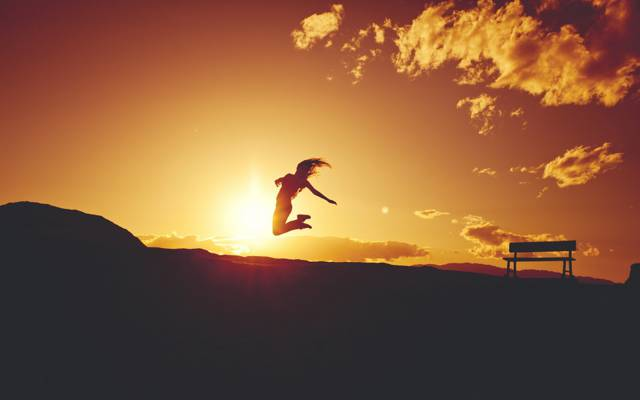 心情,飞行,女孩,剪影,长凳,日落