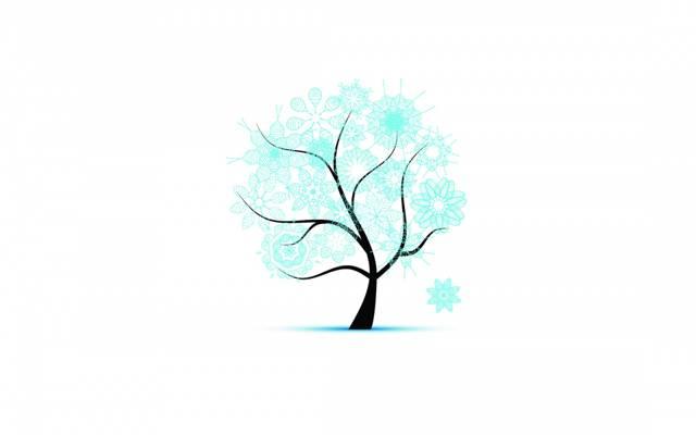 树,雪花,模式,冬天