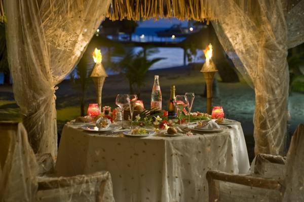 海,棕榈树,家具,火把,岸边,菜肴,帐篷