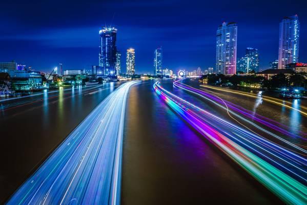 时间推移摄影的城市,chao phraya河高清壁纸