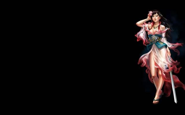极简主义,黑暗的背景,女孩,剑,艺术,花卉