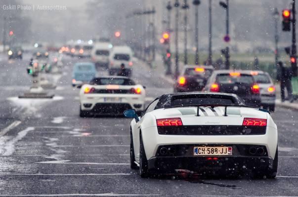 F430,汽车,兰博基尼,雪,盖拉多,路,法拉利,白色,红绿灯