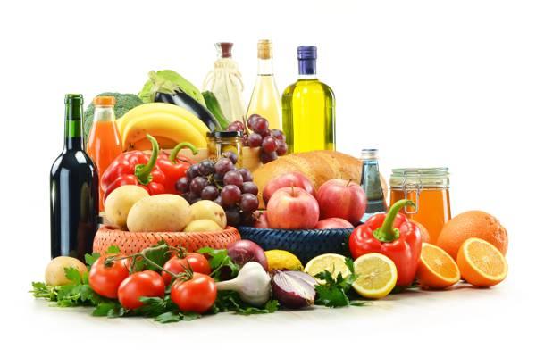 辣椒,西红柿,油,土豆,蔬菜,果汁,酒,茄子,面包,蔬菜,西兰花,大蒜,葡萄,蜂蜜,罐子,...