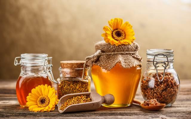 壁纸花,蜂胶,甜,罐子,蜂蜜,黄色,银行,勺子