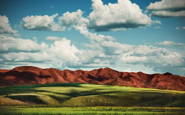 草,天空,田野,山,云