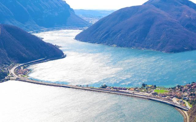 瑞士,湖,山,路,移动,卢加诺