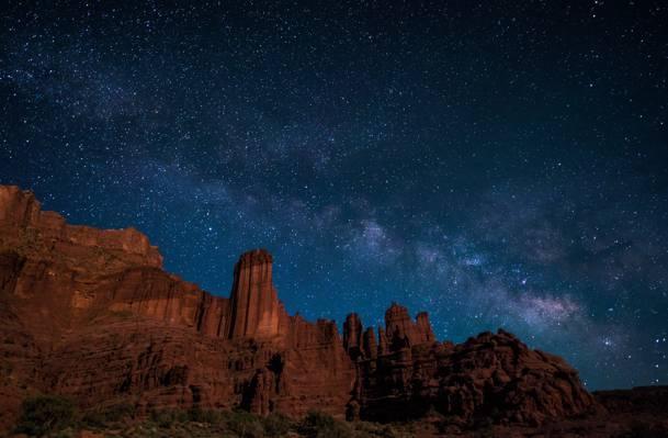 犹他州,费舍尔塔,银河系,美国,星星,丘陵,空间,神秘
