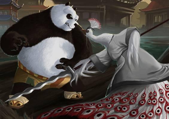 武器,亚洲,艺术,愤怒,熊猫,孔雀,鸟,矛,karuma9,主神,功夫熊猫