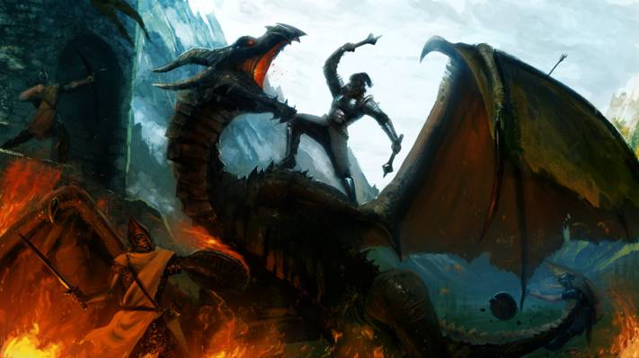 武器,山,艺术,战士,梅斯,战斗,龙,剑,盾,火