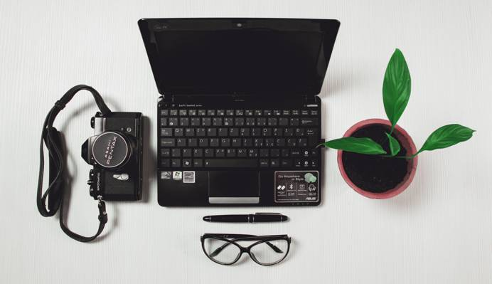 黑色的笔记本电脑旁边绿色的有叶的盆栽的植物和黑色胶片相机和扭曲笔和黑框眼镜高清壁纸