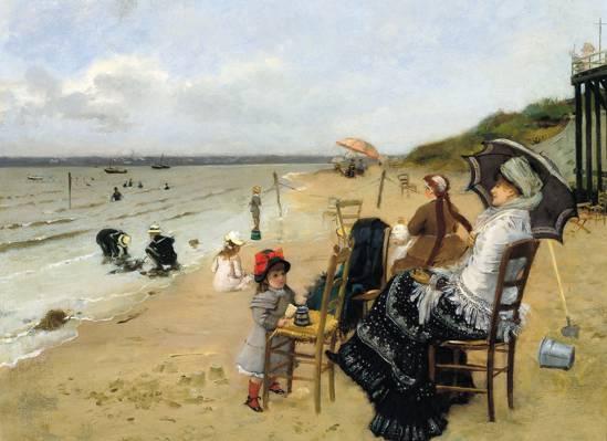 海,图片,母亲带着女儿在海滩上,厄内斯特安杰迪兹,流派
