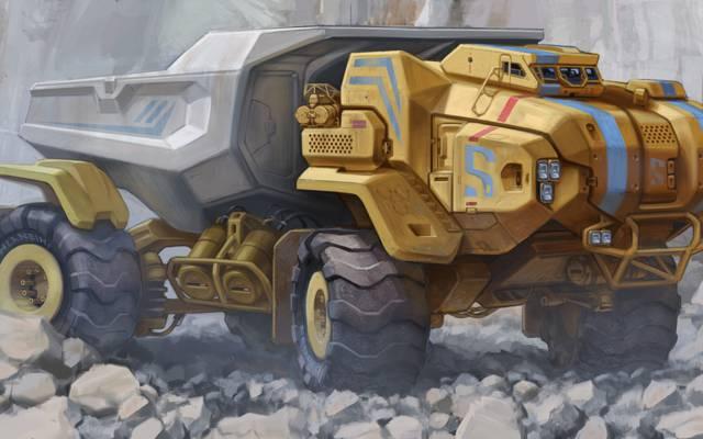 自卸车,石头,科幻,卡车,前面