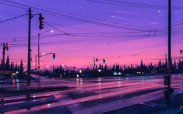 新月,天空,Alena Aenam,艺术家,红绿灯,月亮,紫色,树木,星星,森林,...
