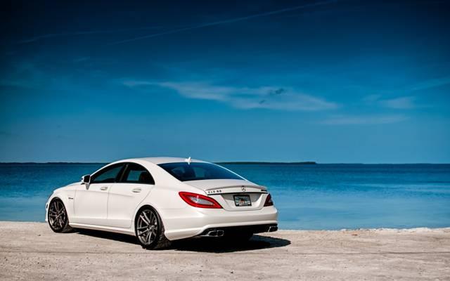 梅赛德斯 - 奔驰,后视,白色,AMG,ЦЛС63,海岸,水,天空,AMG,奔驰
