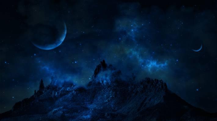 星球,山,空间,星星