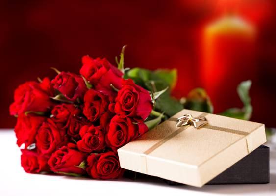 鲜花,假日,礼物,花束,玫瑰,红玫瑰