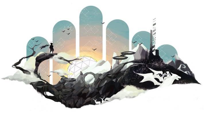 龙,人,小说,山,抽象