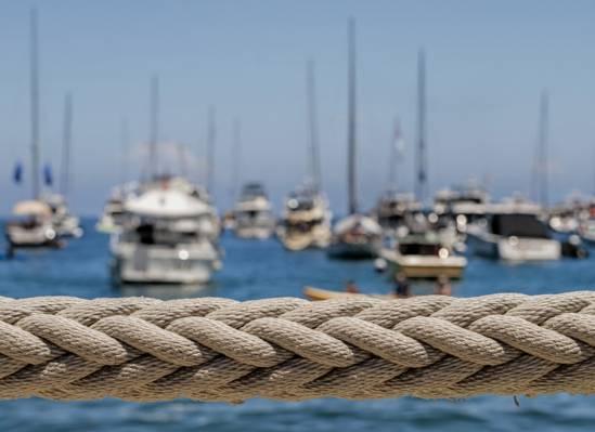 游艇,小船,港口,绳索,宏