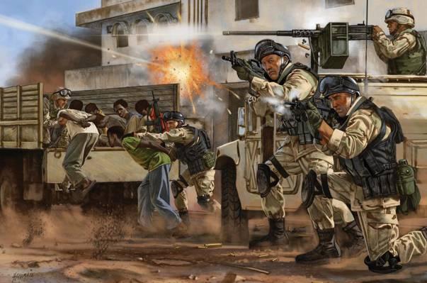 人质,特种部队,武器,艺术,士兵,装备,人物,释放,镜头