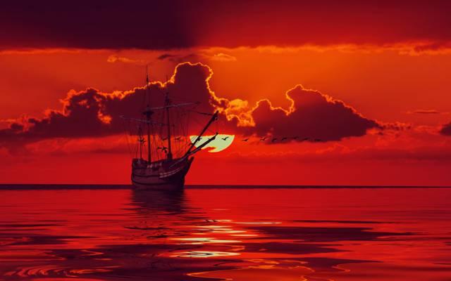 桅杆,剪影,地平线,天空,太阳,云,鸟,海,帆船,发光,3D图形,船