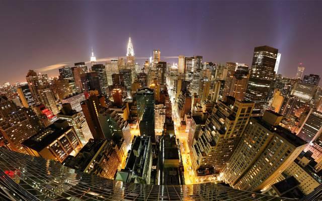 纽约曼哈顿夜景俯视图