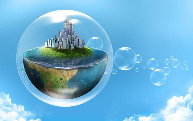 泡沫,创意,行星,城市,水,一半,天空,云