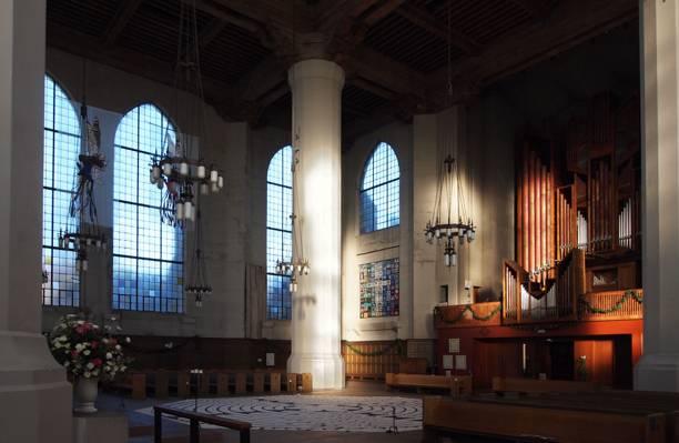 风格,大教堂,室内,设计,教会,大教堂,与器官的视图